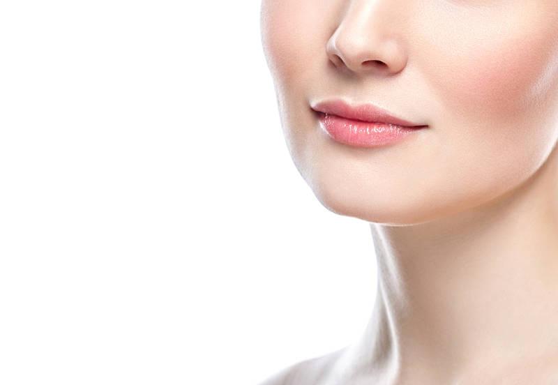 Rosto feminino após aplicação de colágeno